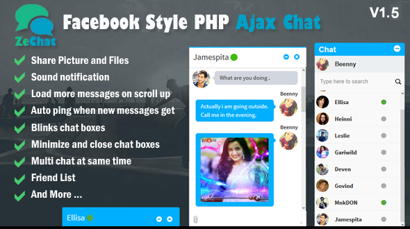 Facebook Style Php Ajax Chat - Zechat